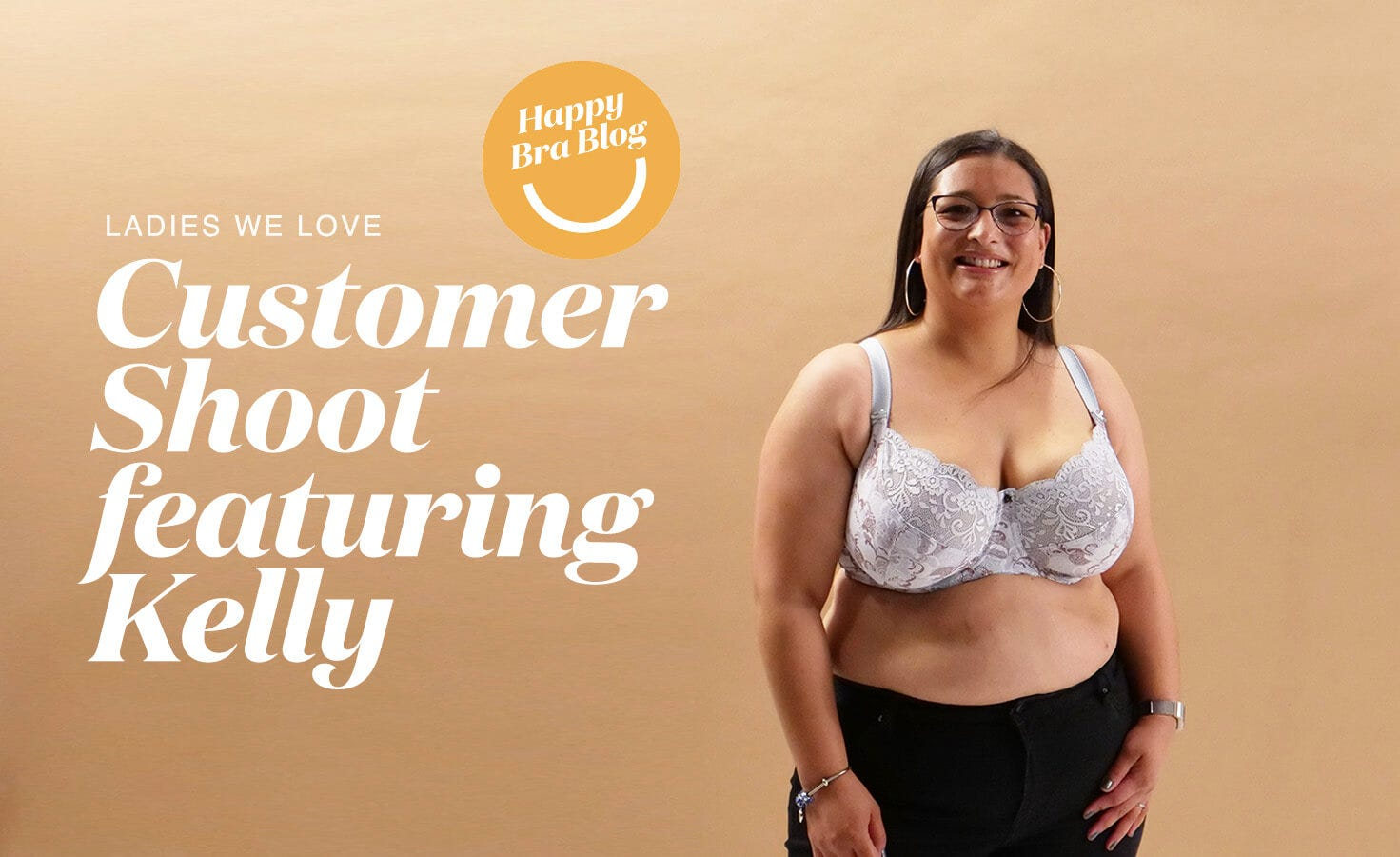 Woman smiling in Rose & Thorne supportive bra