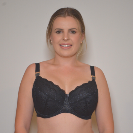 Underwire Contrast Lace Bra - Enhanced Support - Black Charcoal