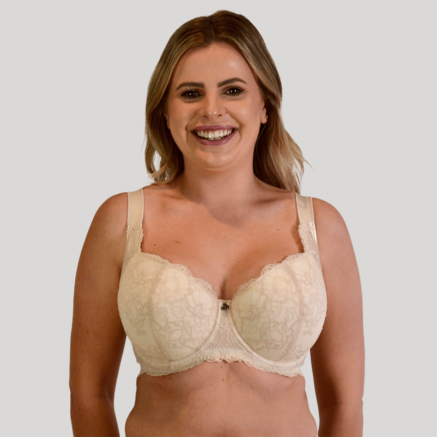 Model wearing Underwire Baroque Bra - Enhanced Support - Cafe Latte Front