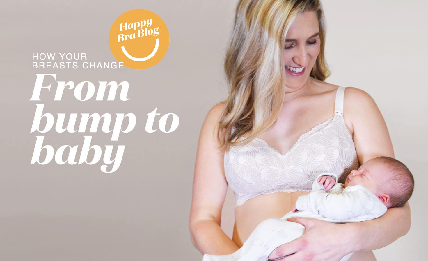 Woman in Rose & Thorne Maternity Bra Holding a Baby